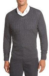 Men's Big And Tall John W. Nordstrom Cable Merino Wool V Neck Sweater Grey Dark Charcoal Heather