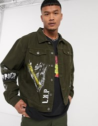 Liquor N Poker Denim Jacket With Warrior Arm Band And Paint In Khaki Green