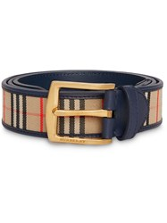 Burberry 1983 Check And Leather Belt Blue
