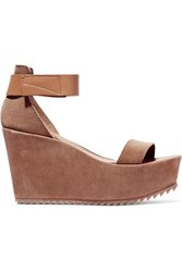 Pedro Garcia Fania Suede And Textured Leather Wedge Sandals Tan