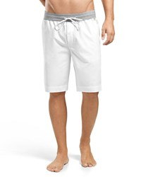 Hanro Woven Drawstring Shorts White Gray