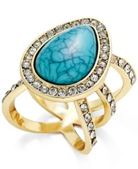 Thalia Sodi Gold Tone Blue Stone Pave Crystal Statement Ring Only At Macy's