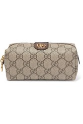 Gucci Ophidia Small Textured Leather Trimmed Printed Coated Canvas Cosmetics Case Beige