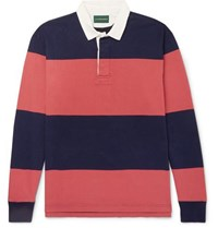 J.Crew 1984 Twill Trimmed Striped Cotton Jersey Polo Shirt Navy