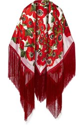 Dolce And Gabbana Fringed Floral Print Silk Satin Wrap Red