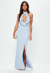 Missguided Blue High Neck Keyhole Frill Detail Maxi Dress