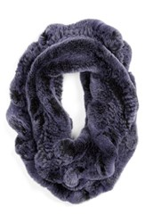 Women's Linda Richards Genuine Rabbit Fur Ruffle Infinity Scarf Blue Indigo