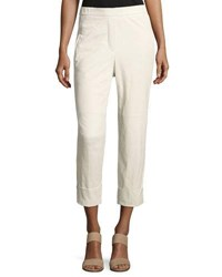 Brunello Cucinelli Flat Front Cropped Leather Pants Off White