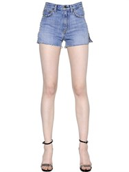Saint Laurent Studded Cotton Denim Shorts