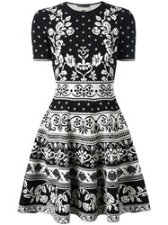 Alexander Mcqueen Jacquard Knit Mini Dress Black