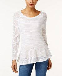 Styleandco. Style Co. Open Knit Peplum Sweater Only At Macy's Bright White