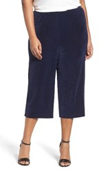 Vikki Vi Plus Size Women's Stretch Knit Crop Pants Navy