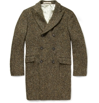 Massimo Alba Double Breasted Tweed Coat Green
