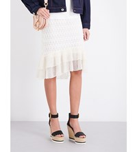 See By Chloe Ruffled Geometric Lace And Cotton Jersey Skirt Off White