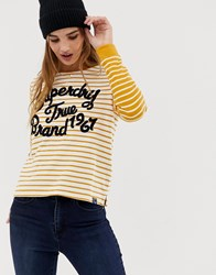 Superdry Striped Longsleeve T Yellow