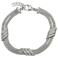 Jools By Jenny Brown Double Row Adjustable Chain Bracelet Silver