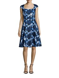 Badgley Mischka Embroidered Lace Dress Blue Multi