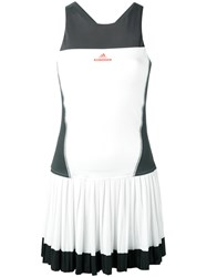 Adidas By Stella Mccartney Contrast Fitted Pleat Dress White