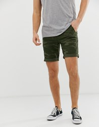 Blend Of America Chino Shorts In Camo Print Beige