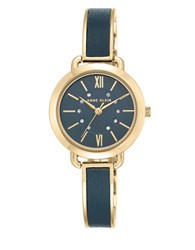 Anne Klein Goldtone Mixed Metal And Leather Bangle Watch Ak2436blgb