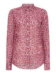 Gant Long Sleeve Button Up Floral Autumn Blouse Pink