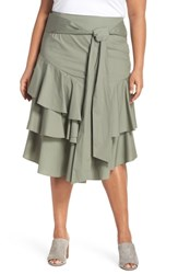 Vince Camuto Plus Size Tiered Ruffle Belted Skirt