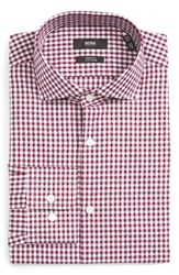 Boss Men's Big And Tall Mark Sharp Fit Easy Iron Check Dress Shirt Dark Purple