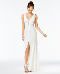 Say Yes To The Prom Embellished Illusion Stripe Gown A Macy's Exclusive Style Off White