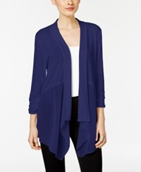 Ny Collection Chiffon Detail Open Front Cardigan Evening Blue