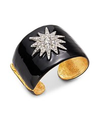 Kenneth Jay Lane Crystal Pave Star Hinged Cuff Gold