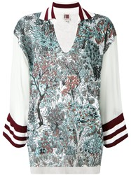 I'm Isola Marras Floral Contrast Top Green