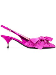 Prada Bow Front Slingback Mules Pink