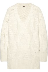 Adam By Adam Lippes Oversized Cable Knit Wool And Cashmere Blend Sweater Ivory