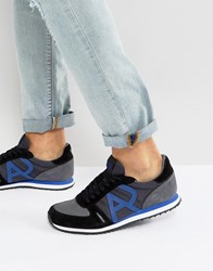 Armani Jeans Logo Runner Trainers In Black Black