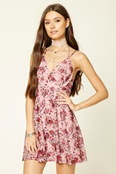 Forever 21 Floral Halter Cami Mini Dress Cream Pink