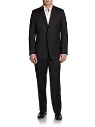 Saks Fifth Avenue Black Classic Fit Wool And Silk Two Button Suit Black