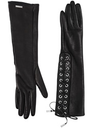 Dsquared Lace Up Nappa Leather Gloves Black