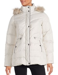 Larry Levine Faux Fur Trimmed Puffer Down Coat Ivory