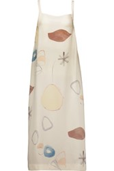 Adam By Adam Lippes Tie Back Printed Silk Midi Dress Ivory