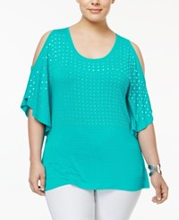 Belldini Plus Size Studded Cold Shoulder Top Mermaid