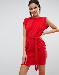 Asos Belted Mini Dress With Split Cap Sleeve And Pencil Skirt Red