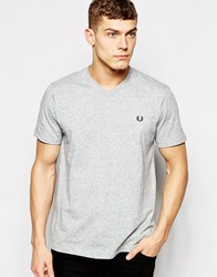 Fred Perry T Shirt With V Neck In Vintage Steel Marl Vintagesteelma