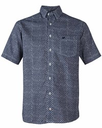 Double Two Men's Diamond Patterned Short Sleeved Shirt Navy