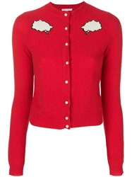 Olympia Le Tan Bubble Cloud Buttoned Cardigan Cashmere Red