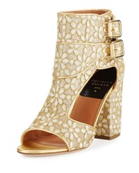 Laurence Dacade Rush Floral Embroidered Open Toe Bootie Gold