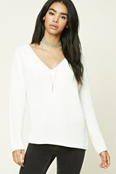 Forever 21 Ribbed V Neck Sweater