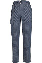Marc By Marc Jacobs Indigo Pinstriped Cotton And Linen Blend Chambray Straight Leg Pants Indigo