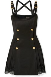 Versace Button Embellished Satin And Lace Trimmed Wool Blend Twill Mini Dress Black