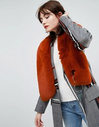 Asos Faux Fur Scarf With Tape And Ring Detail Brown