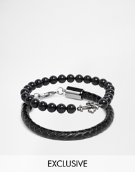 Simon Carter Leather And Semi Precious Stone Bracelet Pack Exclusive To Asos Black